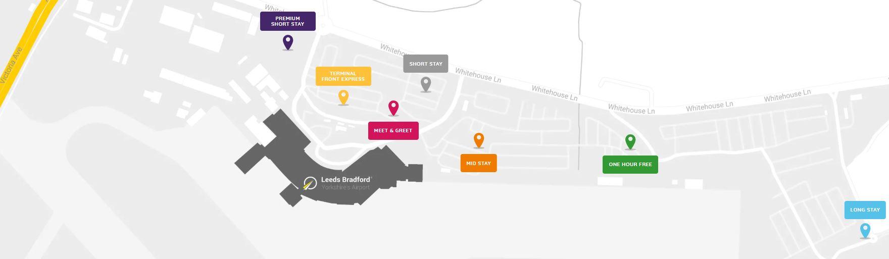 Car park map of Leeds Bradford Airport